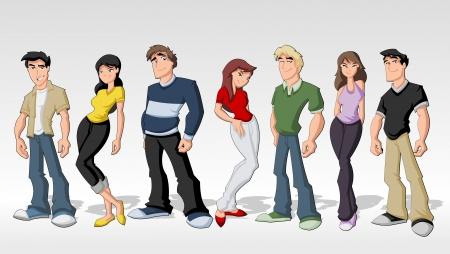 갱: 그룹 만화 십대 청소년 친구 일러스트