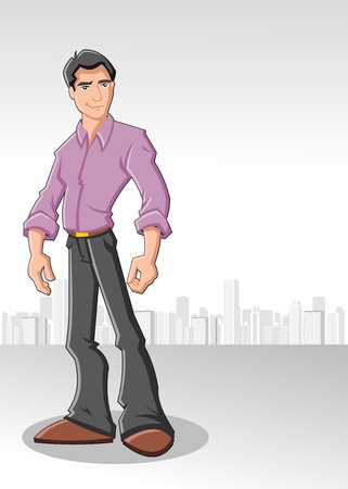 young man: Cartoon man wearing purple shirt with city on the background Illustration
