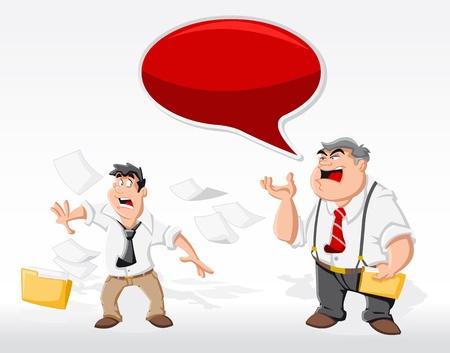 Homme de dessin animé avec son patron en colère dans le discours de bureau bulle de dialogue ballon Vecteurs
