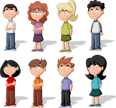 youth group: Set of 8 cute happy cartoon kids