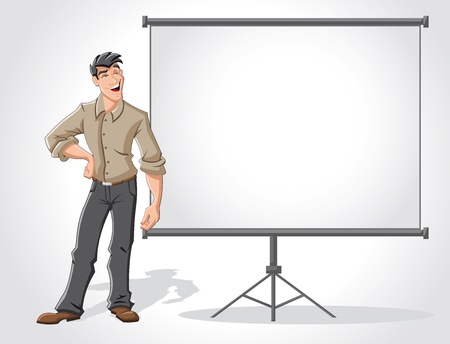 explaining: Young man and white billboard with empty space  Presentation screen