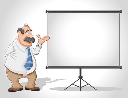 teacher student: Viejo hombre y cartelera blanca con la pantalla vac�a de espacio de presentaci�n Vectores