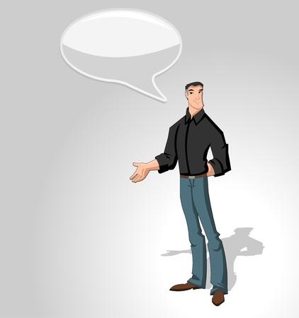 discuss: Cartoon man wearing black shirt talking with speech balloon