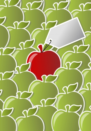 Red and green apple icon with label  One of a kind   Vector