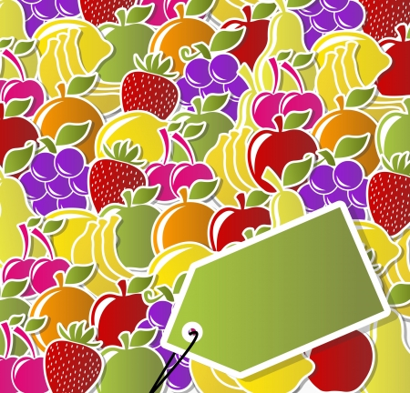 Background of fruit icons labels  Vector