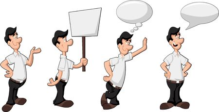 Cartoon man wearing white shirt talking with speech balloon and holding billboard  Vector