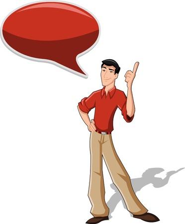 isteme: Konuşma balonu ile konuşurken kırmızı gömlek giyiyor karikatür adam