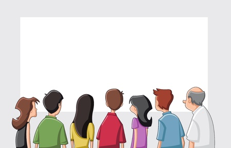 back screen: Group cartoon people looking   staring white screen
