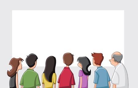 woman back of head: Gruppo di persone che cercano fumetto staring schermo bianco Vettoriali