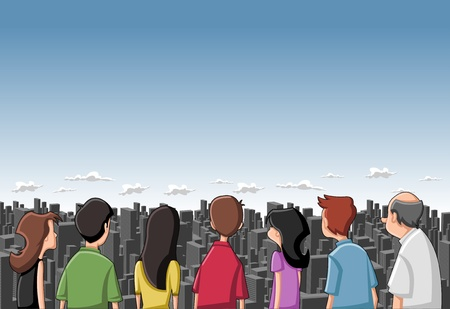 woman back of head: Group cartoon people looking   staring at big city