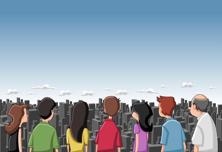 city view: Group cartoon people looking   staring at big city