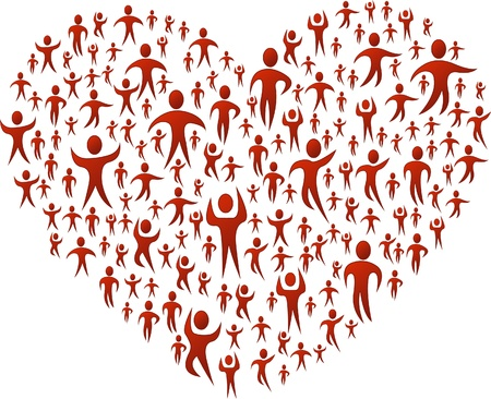 donations: Group of red people forming a big heart Illustration