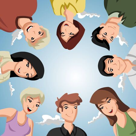 friends laughing: Cartoon people forming a circle of heads Illustration