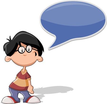 speak bubble: Cartoon boy wearing glasses talking