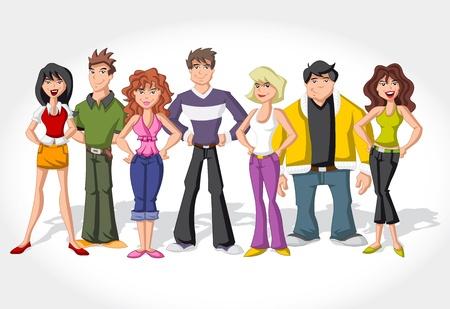 El grupo de personas de dibujos animados adolescentes Ilustración de vector