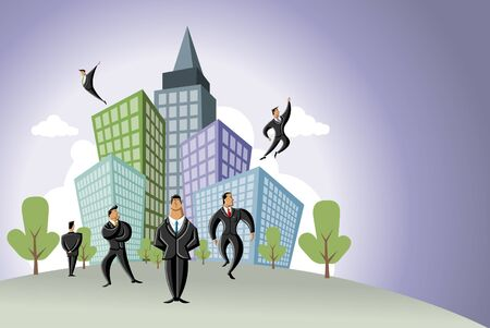 Businessmen over city Vector