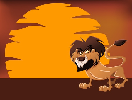 African lion in the sunset Vector