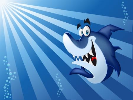 대양의: 푸른 바다에서 재미있는 만화 블루 상어 수영