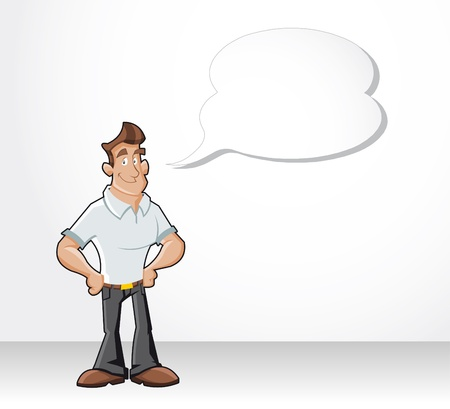 Cartoon man talking by dialog balloon Stock Vector - 16490940