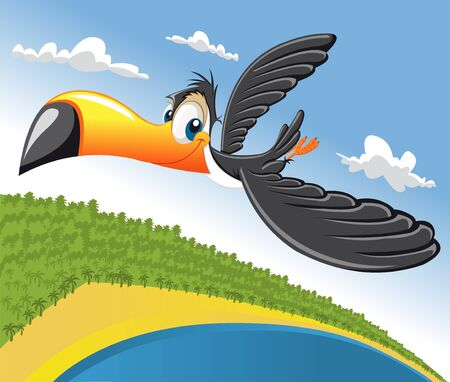 Cartoon toucan flying over beach in Brazil Stock Vector - 16490965