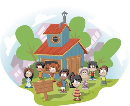 kids club: Cute happy cartoon kids in front of wood club house  Illustration