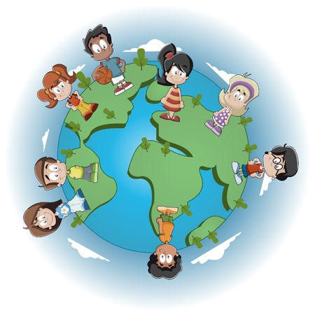 connected world: Cute happy cartoon kids over earth planet