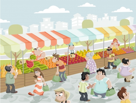 kiosk: Market place on a street with food and vegetables stands  Market stall  Illustration
