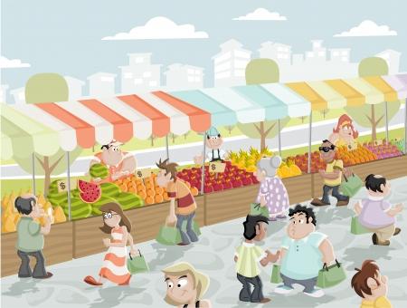 mercado: Mercado em uma rua com alimentos e vegetais est