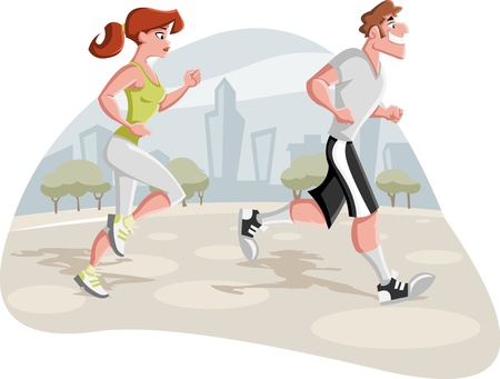 exercise man: Cartoon couple jogging in the city park