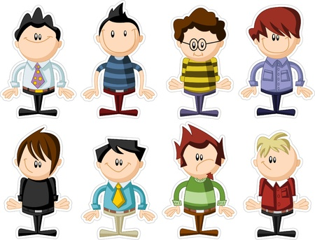 cartoon teenager: Group of funny cartoon people