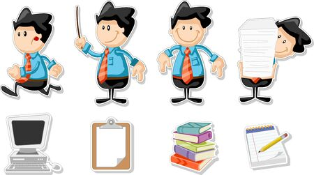 Smiling cartoon business man with office icons Vector