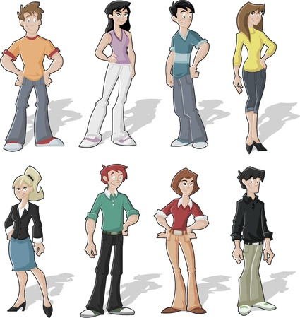 Group of cartoon young people Stock Vector - 16552346