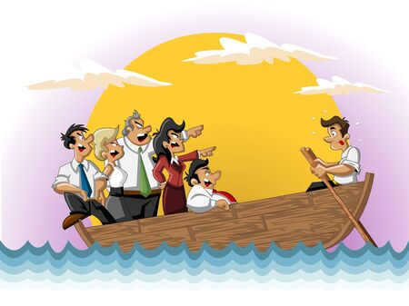 man yelling: Template for advertising brochure with Business cartoon team on boat