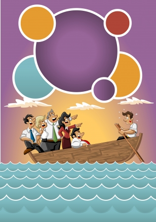 stressed people: Template for advertising brochure with Business cartoon team on boat