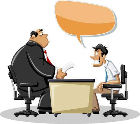 discuss: Cartoon man with his angry boss in office  Speech   bubble  Dialog balloon  Illustration