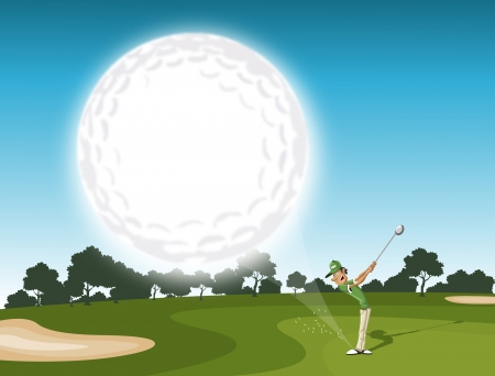 golfer swinging: Golf ball coming  golfer swinging after hitting golf ball  EPS 10 and transparency