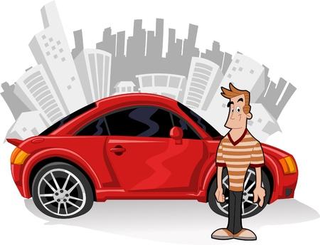 carro caricatura: Cartoon persona y coche en la ciudad