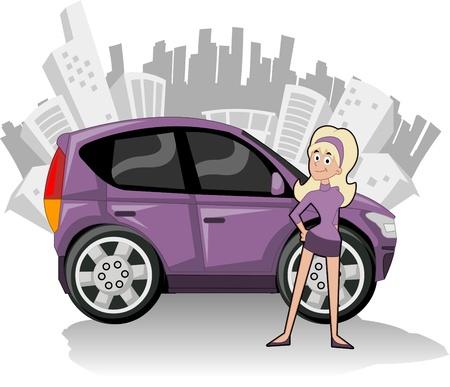 Cartoon Person und Auto auf die Stadt