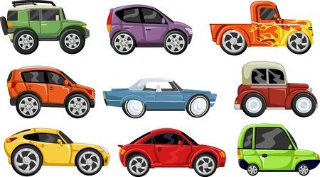 cars parking: Set of nine colorful cars