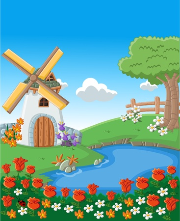 Green garden with colorful beautiful spring flowers, lake and windmill