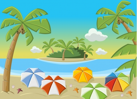 Beautiful tropical beach with blue ocean, umbrellas and palm   Coconut trees   Stock Vector - 16552331