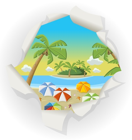 sunny beach: Paper hole showing a beautiful tropical beach with blue ocean, umbrellas and palm   Coconut trees  Illustration