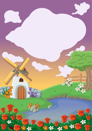 water mill: Colorful template for advertising brochure with colorful garden with beautiful spring flowers, lake and windmill