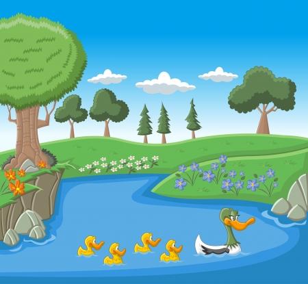 pato caricatura: Una natación del pato de la madre con sus patitos en el lago azul Vectores