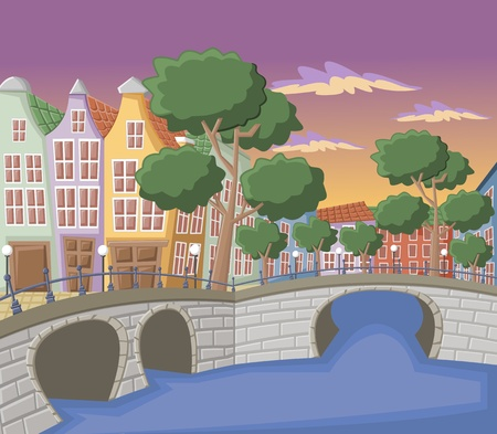 Beautiful colorful buildings in Amsterdam with canals, bridge and typical dutch houses Stock Vector - 16552347