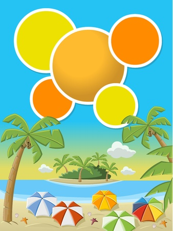 Colorful template for advertising brochure with beautiful tropical beach with blue ocean, umbrellas and palm   Coconut trees Stock Vector - 16552342
