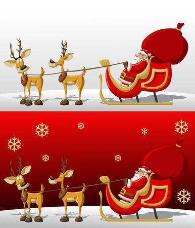 sledge: Santa-Claus en trineo con renos
