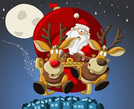 renna: Babbo-Natale su slitta con renne Vettoriali