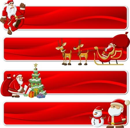 papa noel en trineo: Papá Noel con una bolsa de regalo rojo grande, árbol de navidad, el trineo con los renos y con muñeco de nieve