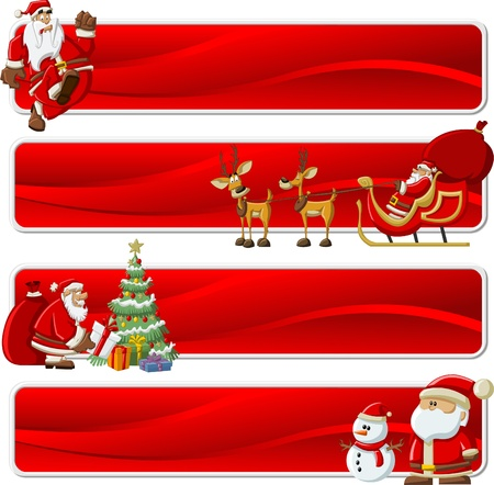 cartoon present: Santa Claus with a big red gift bag ,christmas tree, on sleigh with reindeer and with snowman Illustration